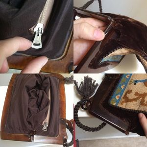 Vintage Bags - Peacock Needlepoint Velvet Lucite Handbag Vintage